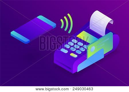 Confirms the payment by mobile phone, Sales printed receipt. POS terminal, electronic bill payment. Isometric NFC payment concept in flat design. Vector illustration poster