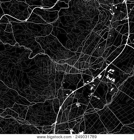 Area Map Of Baden Bei Wien, Austria. Dark Background Version For Infographic And Marketing Projects.