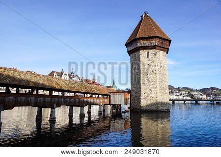 Lucerne, Switzerland -23 December 2017 : Buildings Of The City Along Lake Lucerne. Lucerne Is A City