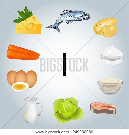 Illustration Of Foods Rich In Iodine. Healthy Eating