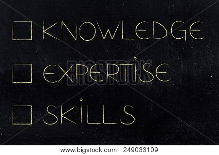 Knowledge Expertise And Skills Conceptual Illustration: Text With Cases Unticked