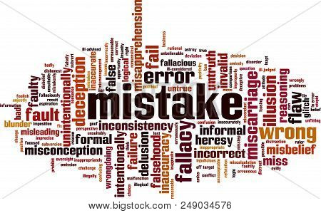 Mistake Word Cloud Concept. Vector Illustration On White