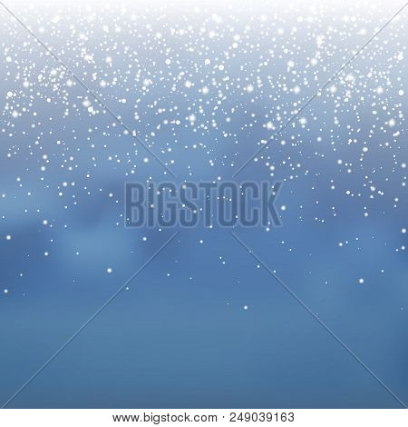 Stock Vector Illustration Falling Snow Overlay. Snowflakes, Snowfall. Blue Background. Fall Of Snow,