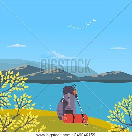 Autumnal Hiking Poster. Go On Autumn Fall Hike. Time For Hiking Trip Design Element In Retro Color.