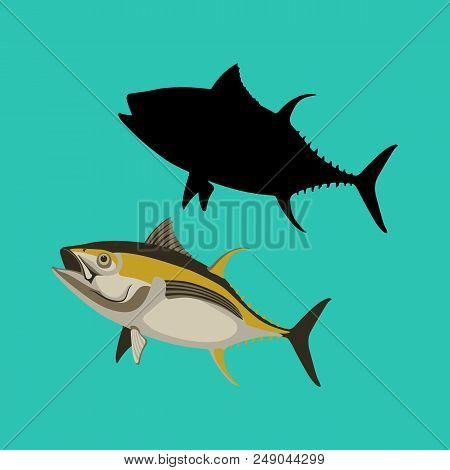 Yellow Tuna Fish Vector Illustration Flat Style Black Silhouette