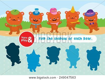 Bear Game. Learn And Play. Task To Find Objects For Training Of Logical Thinking. Find Shadow And Su