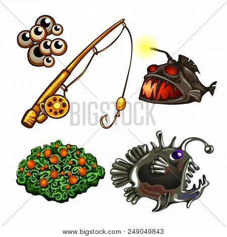 Set On The Theme Of Fishing Predatory Fish Isolated On White Background. Cartoon Fish Angler. Vector