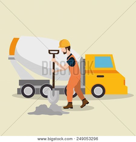 Construction Worker With Under Construction Icons Vector Illustration Design