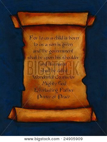 Painting of Old Scroll: Bible Verse