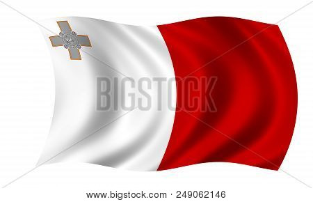 Waving Maltese Flag In The Colors Red And White