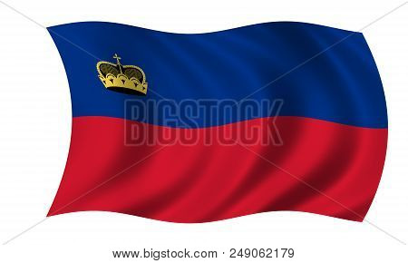 Waving Liechtenstein Flag Flag In The Colors Red And Blue