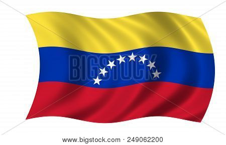 Waving Venezuelan Flag In The Colors Red, Blue And Yellow