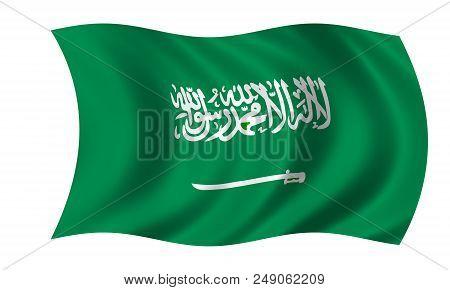 Waving Saudi Arabian Flag In The Colors Green And White