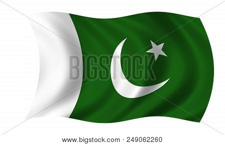 Waving Pakistani Flag In The Colors Green And White