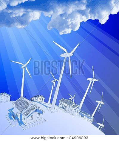 Rays of light & blue sky. Bitmap copy my vector