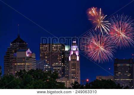 Fireworks explode over downtown Columbus, Ohio during the annual red, white and boom Fourth of July celebration.