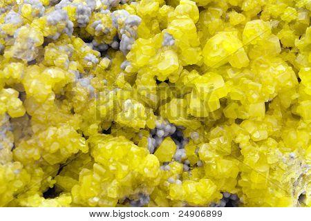 Sulphur Crystal Mineral Macro
