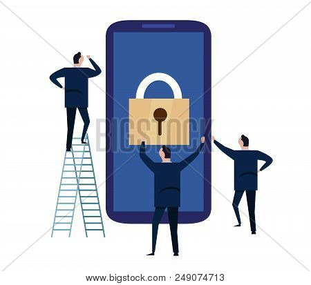 Mobile Device Security. Cyber Security Concept. Protecting Personal Information And Data With Smartp