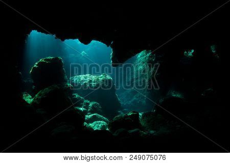 Underwater cave in sea