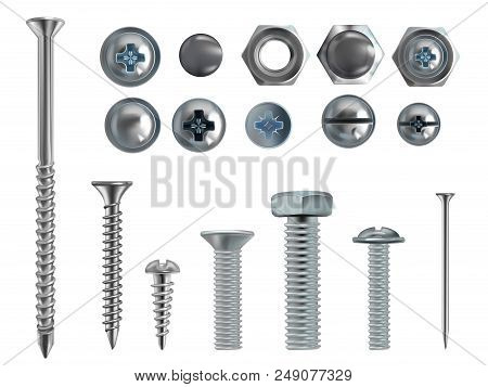 Vector 3d Realistic Illustration Of Stainless Steel Bolts, Nails And Screws On White Background. Top