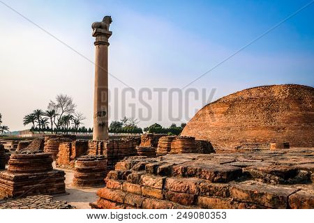 Pillars Of Ashoka At Vaishali, Bihar, India.