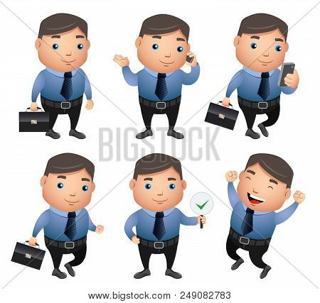 Business characters vector set with different gestures and posture wearing office attire holding bag and taking in phone in white background. Vector illustration. poster