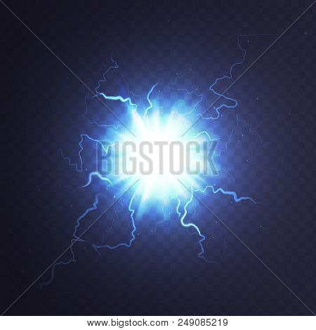Stock Vector Illustration Ball Lightning A Transparent Background. Abstract Plasma Sphere. Electric
