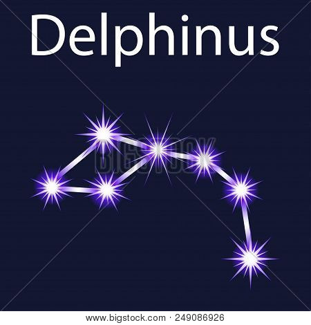 Illustration Constellation Delphinus With Stars In The Night Sky