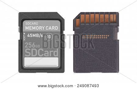 Memory Card Isolated On White Background - 256 Gigabyte