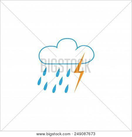 Storm Sign. Weather Icon. Meteorology Symbol Thunderstormy. Isolated Icon Bad Weather. Design Elemen