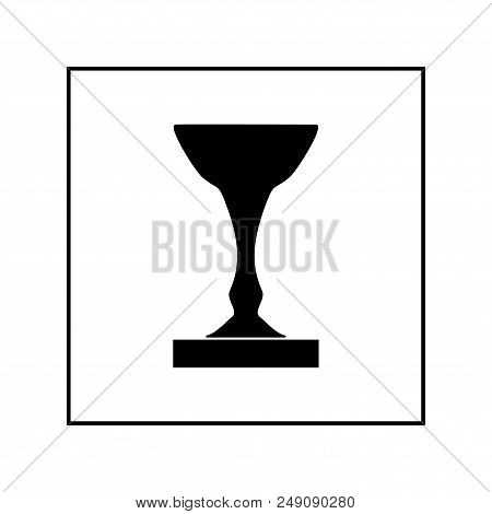 Cup Award Silhouette In Square. Modern Symbol Of Victory, Award Achievement Sport. Insignia Ceremony