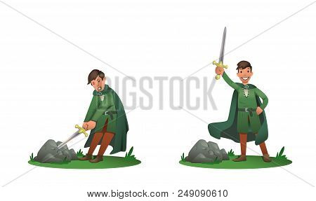 Young King Arthur Withdrawing Excalibur Of The Stone And Holding It Above The Head. Set Of Two Postu