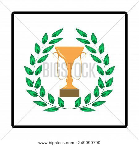Laurel Award Around Gold Cup. Modern Symbol Of Victory, Award Achievement Sport. Insignia Ceremony A