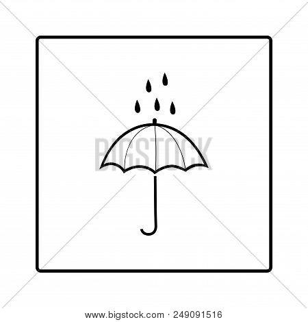 Umbrella And Rain In Square Sign. Meteorology Symbol Rainy Weather. Isolated Icon Bad Weather. Desig