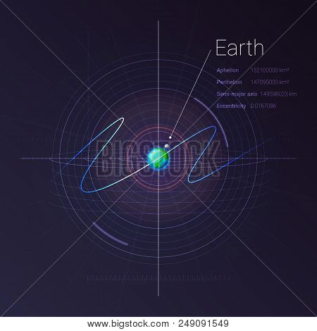 Earth In The Deep Space With Technology Infographics. Astronomy And Science Concept. Network And Dat