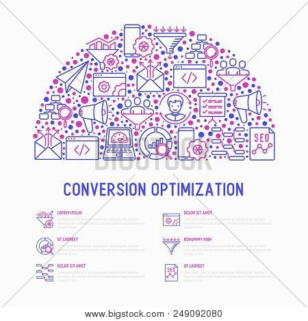 Conversion Optimization Concept In Half Circle With Thin Line Icons: Marketing, Customer Management,