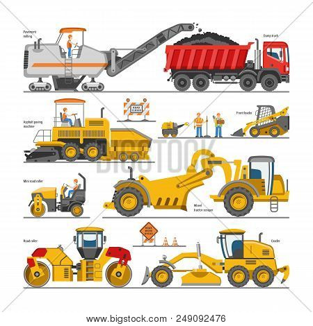 Excavator For Road Construction Vector Digger Or Bulldozer Excavating With Shovel And Excavation Mac