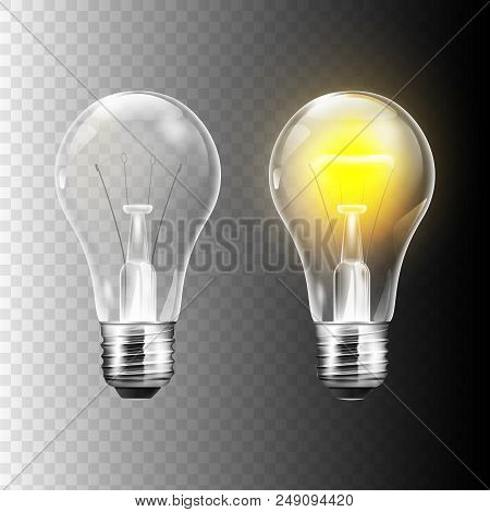 Stock Vector Illustration Realistic Lightbulb Isolated On A Transparent Background. Eps10