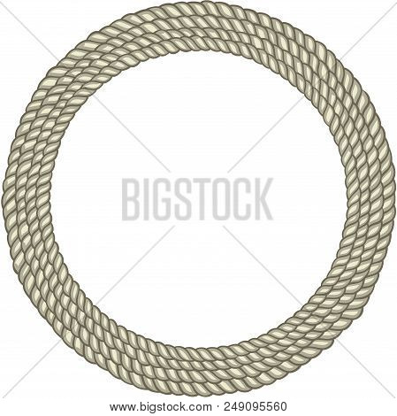 Scalable Vectorial Representing A Round Circle Rope Border, Element For Design, Illustration Isolate