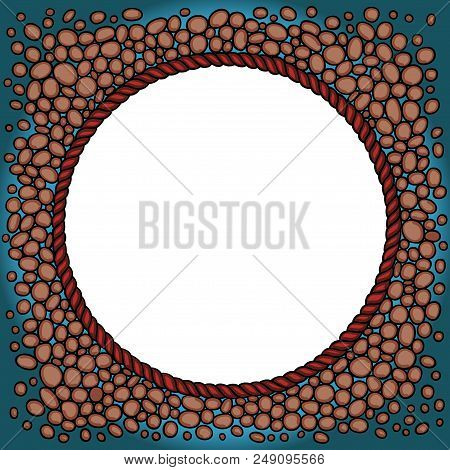 Scalable Vectorial Representing A Round Frame Background With Rocks And Rope , Illustration For Your