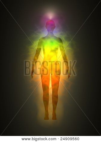Illustration of human energy body silhouette with, aura and chakras. Theme of Creation, healing energy, connection between the body and soul, connection of internal and external. poster