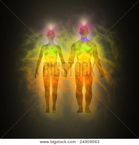 Woman and man energy body, aura, chakras, energy, silhouette