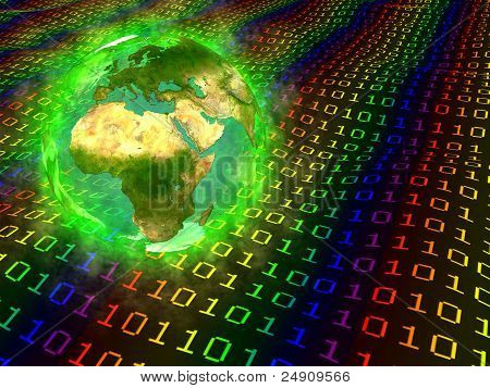 Planet Earth and digital data - Europe, Africa and Asia
