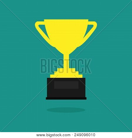 Trophy Cup Vector Flat Icon .championship Trophy Cup Icon Vector Illustration Graphic Design