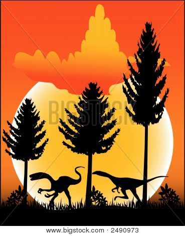 Illustration with an dinosaur - Vector Format poster