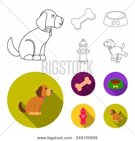 A Bone, A Fire Hydrant, A Bowl Of Food, A Pissing Dog.dog Set Collection Icons In Outline, Flat Styl