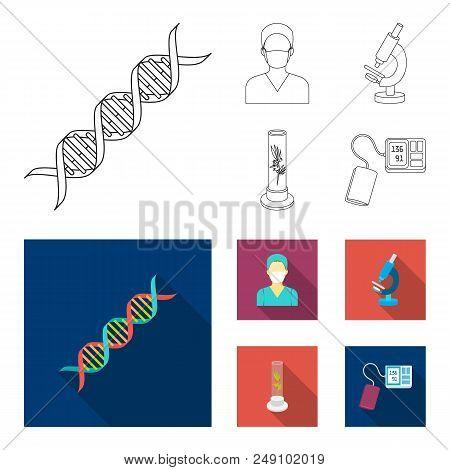 Plant In Vitro, Nurse, Microscope, Tonometer. Medicine Set Collection Icons In Outline, Flat Style V