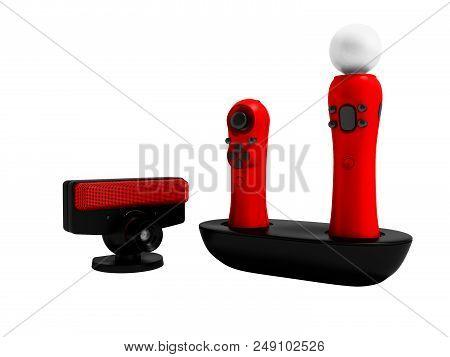 Modern Red Joysticks Navigational And Black Camera For Game Console 3d Render On White Background No