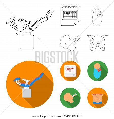Calendar, Newborn, Stomach Massage, Artificial Feeding. Pregnancy Set Collection Icons In Outline, F
