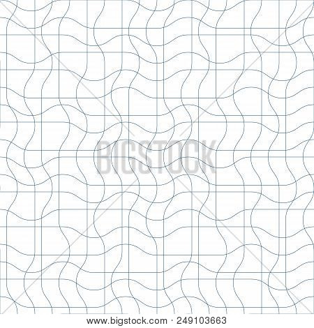 Black And White Vector Endless Pattern Created With Thin Undulate Stripes, Seamless Netting Composit